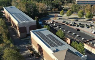 Finished installation of solar array on building